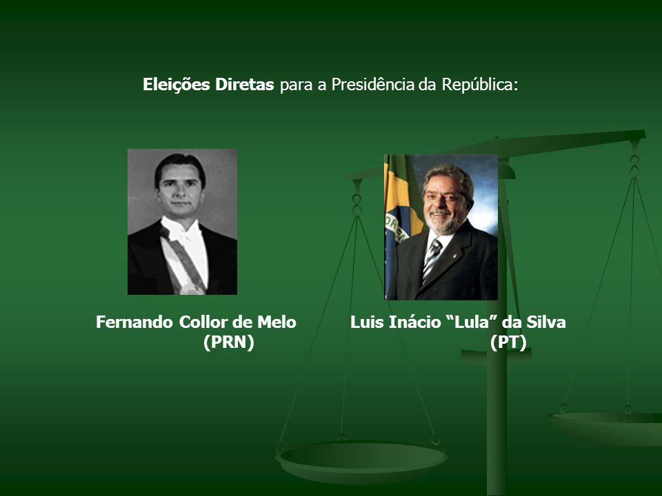 Eleições Diretas para a Presidência da República: Fernando Collor de Melo Luis Inácio Lula da Silva (PRN) (PT)