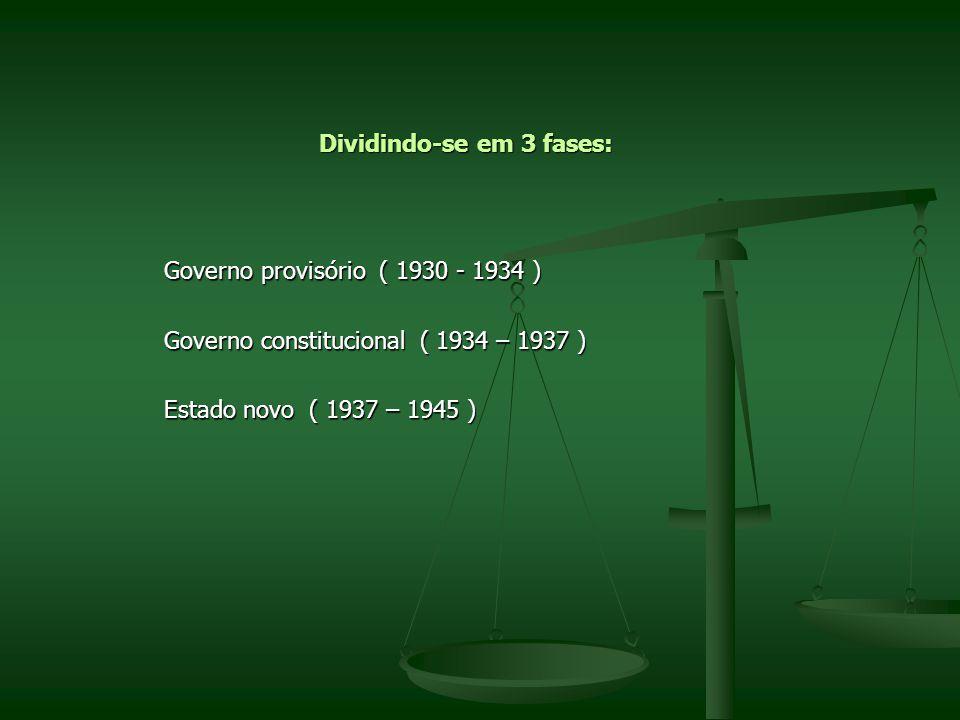Dividindo-se em 3 fases: Governo provisório ( 1930 - 1934 ) Governo provisório ( 1930 - 1934 ) Governo constitucional ( 1934 – 1937 ) Governo constitu