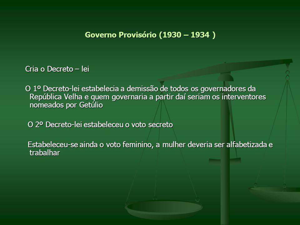 Governo Provisório (1930 – 1934 ) Cria o Decreto – lei Cria o Decreto – lei O 1º Decreto-lei estabelecia a demissão de todos os governadores da Repúbl
