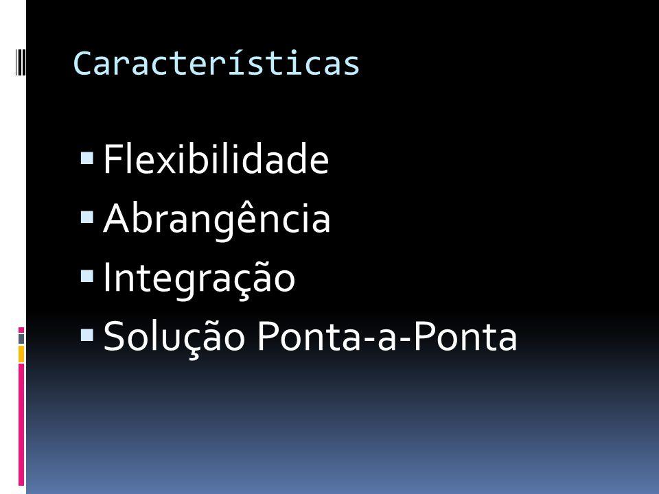 Características Flexibilidade Abrangência Integração Solução Ponta-a-Ponta