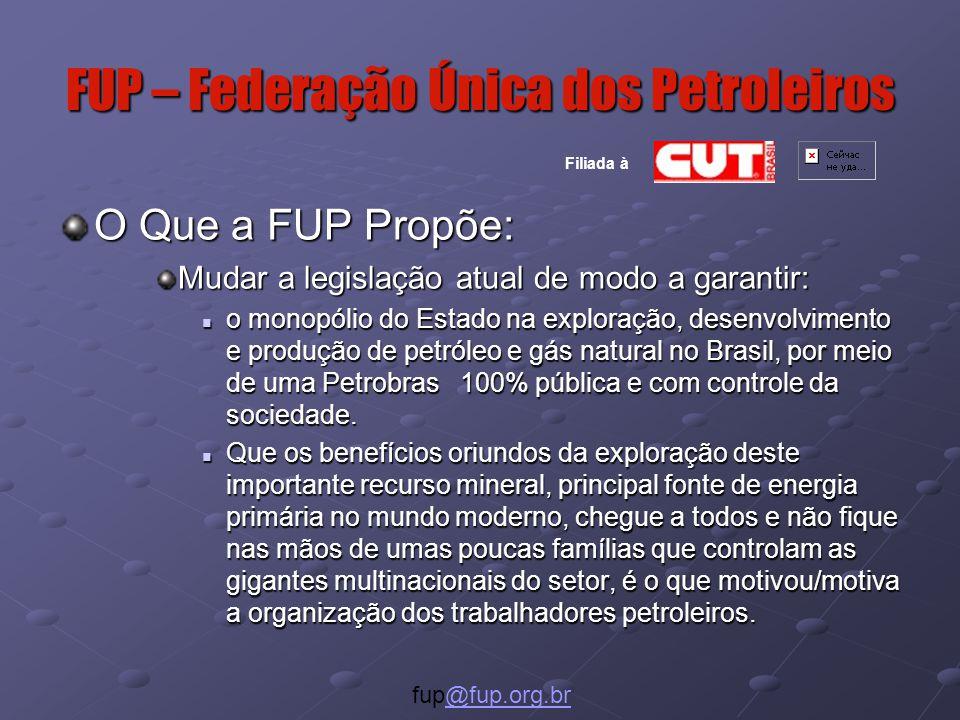 FUP – Federação Única dos Petroleiros O Que a FUP Propõe: Mudar a legislação atual de modo a garantir: o monopólio do Estado na exploração, desenvolvimento e produção de petróleo e gás natural no Brasil, por meio de uma Petrobras 100% pública e com controle da sociedade.