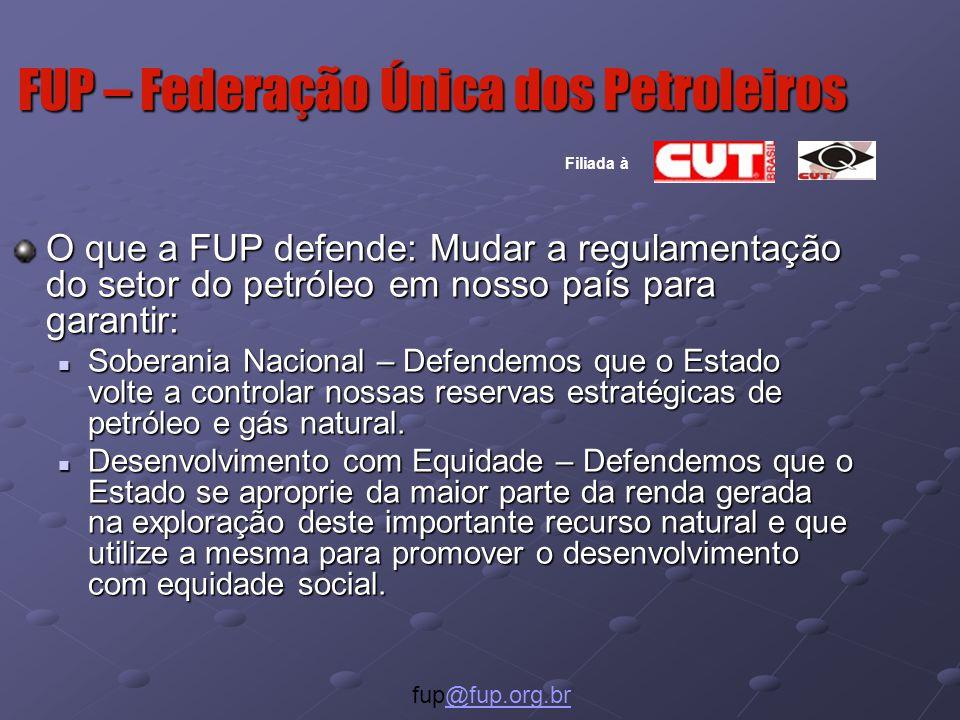 O que a FUP defende: Mudar a regulamentação do setor do petróleo em nosso país para garantir: Soberania Nacional – Defendemos que o Estado volte a controlar nossas reservas estratégicas de petróleo e gás natural.