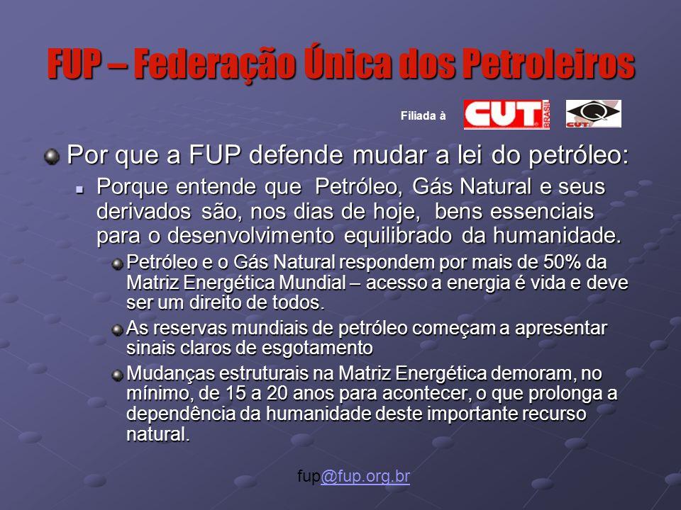 FUP – Federação Única dos Petroleiros Por que a FUP defende mudar a lei do petróleo: Porque entende que Petróleo, Gás Natural e seus derivados são, nos dias de hoje, bens essenciais para o desenvolvimento equilibrado da humanidade.