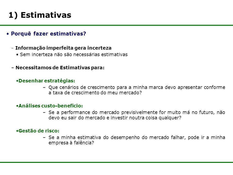 1) Estimativas Porquê fazer estimativas.