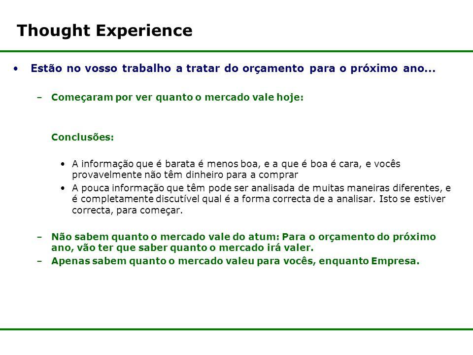 Thought Experience Estão no vosso trabalho a tratar do orçamento para o próximo ano...