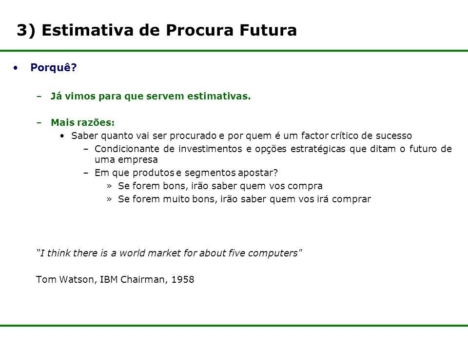 3) Estimativa de Procura Futura Porquê.–Já vimos para que servem estimativas.