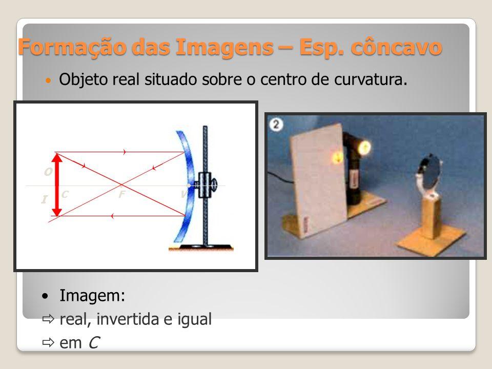 Formação das Imagens – Esp. côncavo Objeto real situado sobre o centro de curvatura. CFV O I Imagem: real, invertida e igual em C