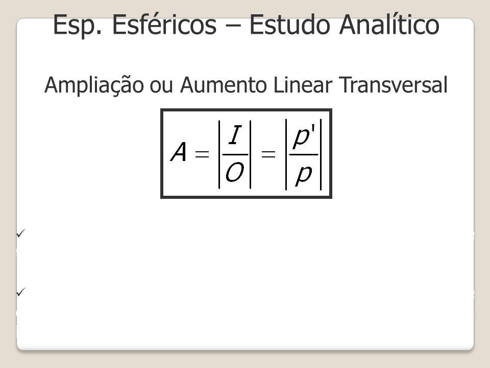Esp. Esféricos – Estudo Analítico Ampliação ou Aumento Linear Transversal A = Ampliação, é um número adimensional e sempre tomado em valor absoluto; E
