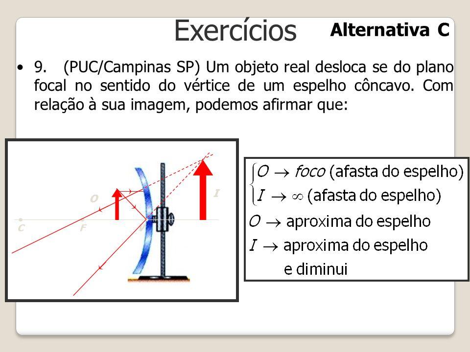 Exercícios 9.(PUC/Campinas SP) Um objeto real desloca se do plano focal no sentido do vértice de um espelho côncavo. Com relação à sua imagem, podemos
