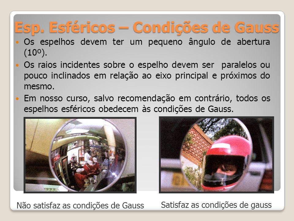 Esp. Esféricos – Condições de Gauss Os espelhos devem ter um pequeno ângulo de abertura (10º). Os raios incidentes sobre o espelho devem ser paralelos
