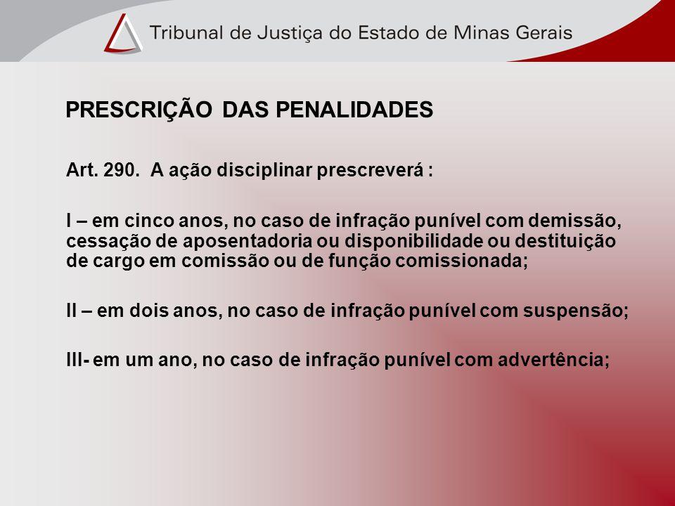 PRESCRIÇÃO DAS PENALIDADES Art. 290.
