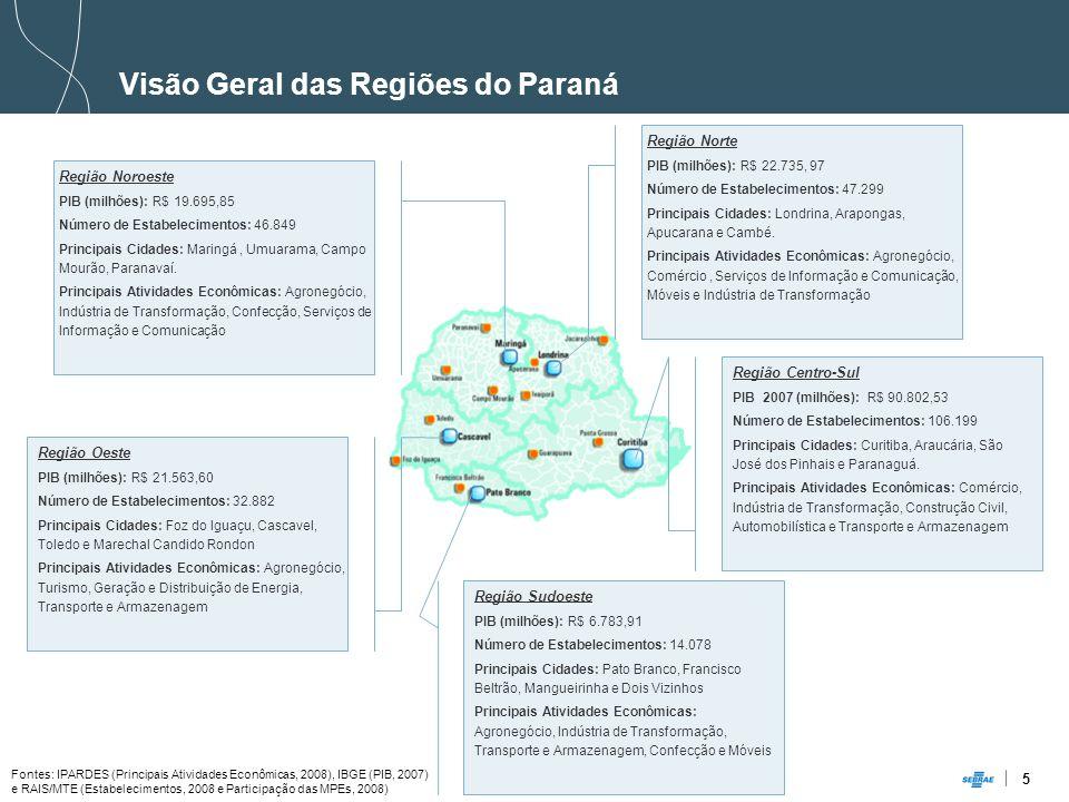 5 Visão Geral das Regiões do Paraná Região Norte PIB (milhões): R$ 22.735, 97 Número de Estabelecimentos: 47.299 Principais Cidades: Londrina, Arapongas, Apucarana e Cambé.