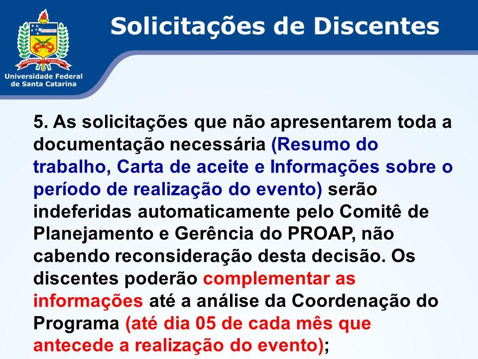 5. As solicitações que não apresentarem toda a documentação necessária (Resumo do trabalho, Carta de aceite e Informações sobre o período de realizaçã