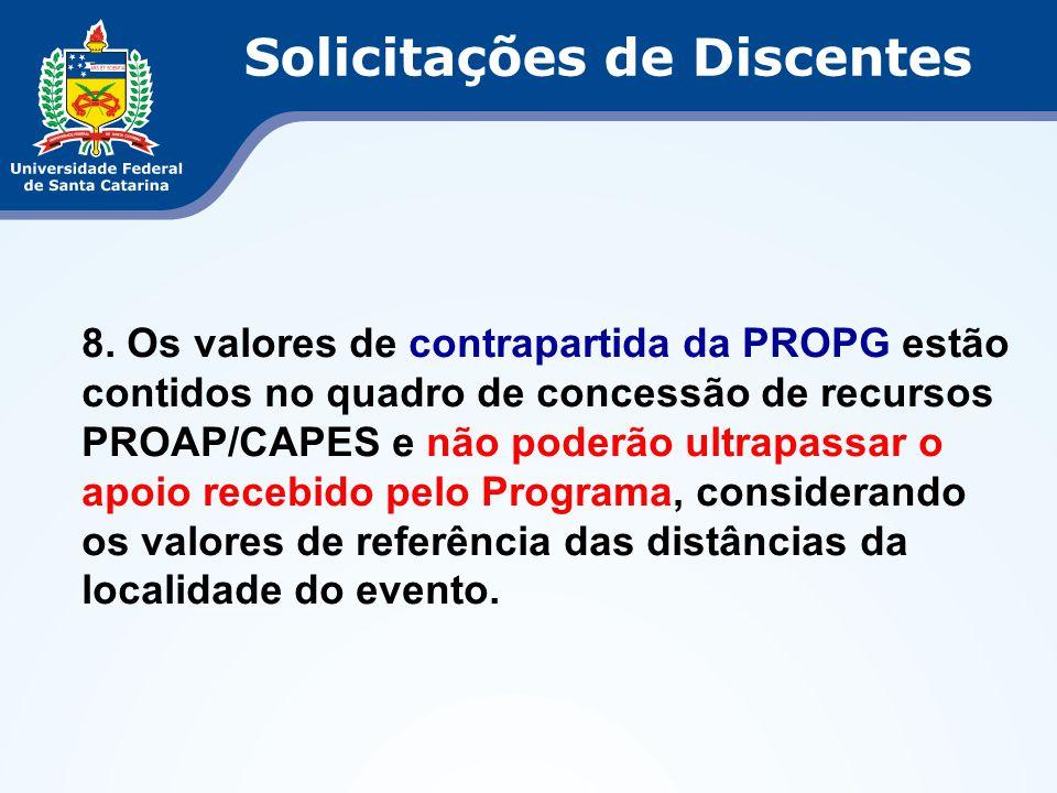 8. Os valores de contrapartida da PROPG estão contidos no quadro de concessão de recursos PROAP/CAPES e não poderão ultrapassar o apoio recebido pelo