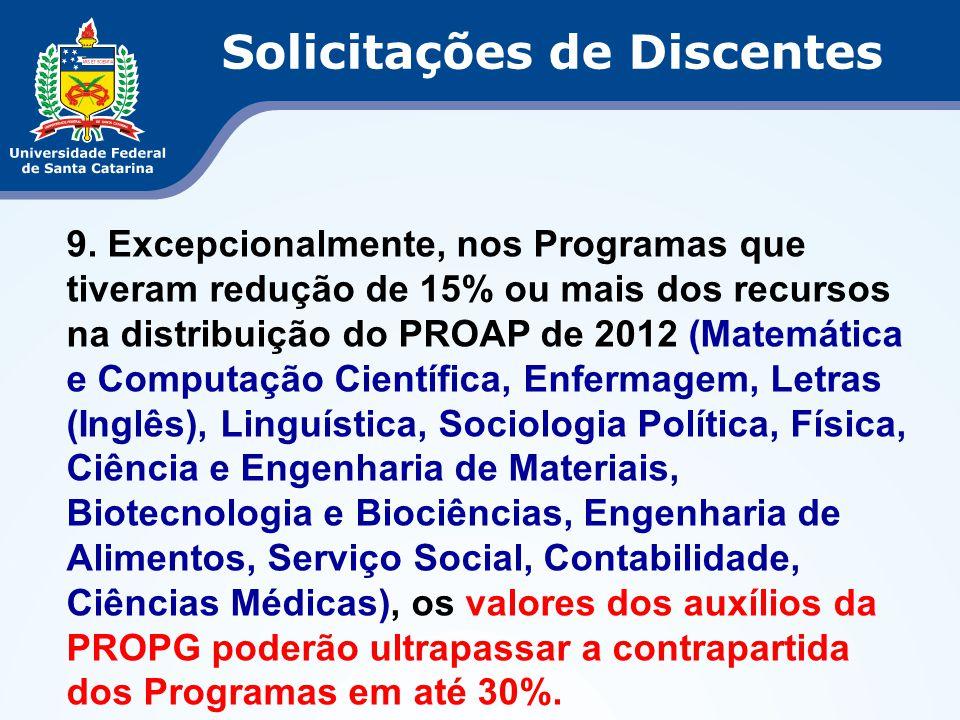 9. Excepcionalmente, nos Programas que tiveram redução de 15% ou mais dos recursos na distribuição do PROAP de 2012 (Matemática e Computação Científic