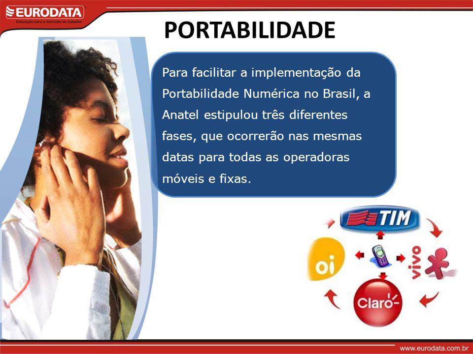 PORTABILIDADE Para facilitar a implementação da Portabilidade Numérica no Brasil, a Anatel estipulou três diferentes fases, que ocorrerão nas mesmas datas para todas as operadoras móveis e fixas.