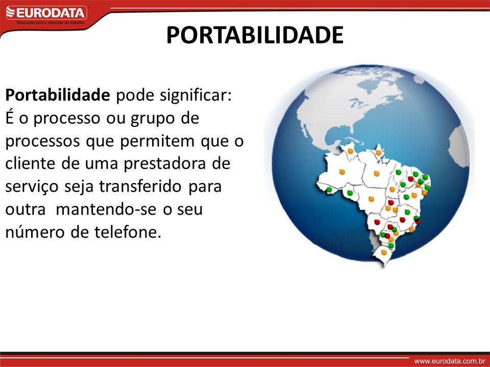 PORTABILIDADE Portabilidade pode significar: É o processo ou grupo de processos que permitem que o cliente de uma prestadora de serviço seja transferido para outra mantendo-se o seu número de telefone.