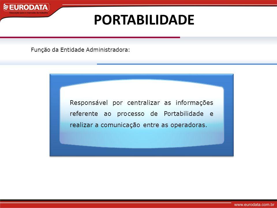 PORTABILIDADE Responsável por centralizar as informações referente ao processo de Portabilidade e realizar a comunicação entre as operadoras.
