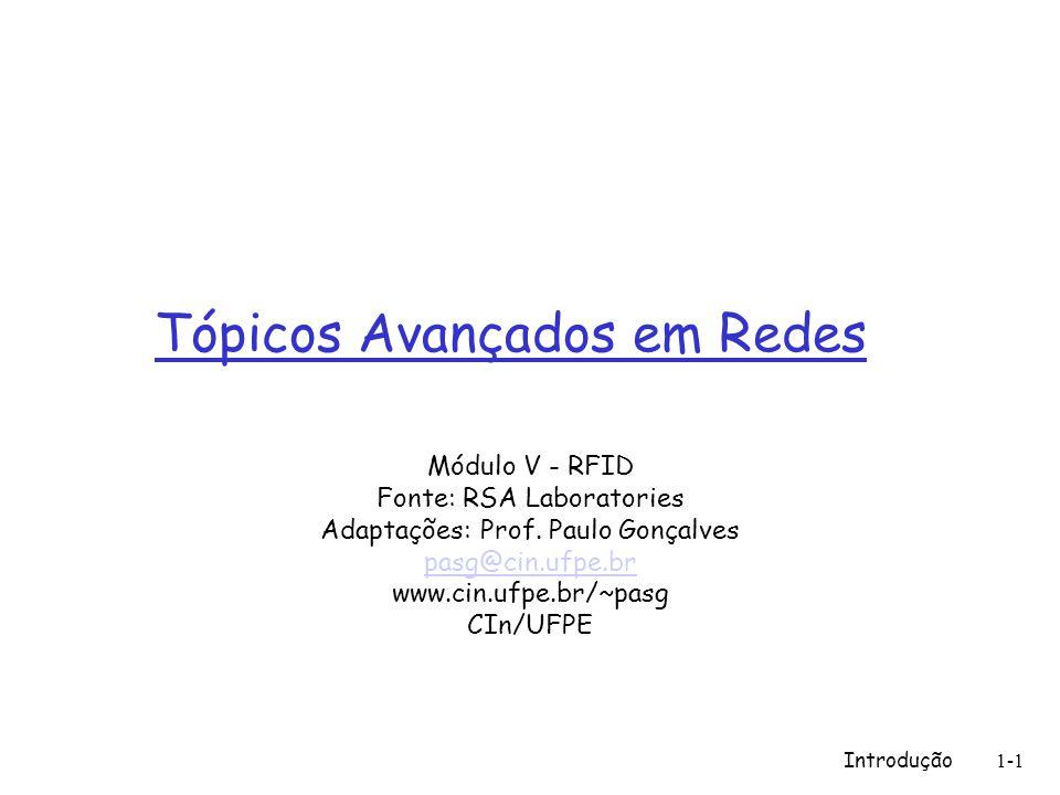 Introdução1-1 Tópicos Avançados em Redes Módulo V - RFID Fonte: RSA Laboratories Adaptações: Prof. Paulo Gonçalves pasg@cin.ufpe.br www.cin.ufpe.br/~p