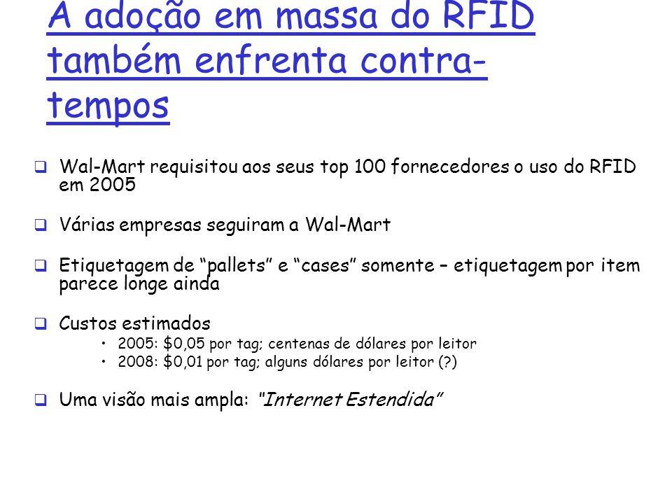 A adoção em massa do RFID também enfrenta contra- tempos Wal-Mart requisitou aos seus top 100 fornecedores o uso do RFID em 2005 Várias empresas segui