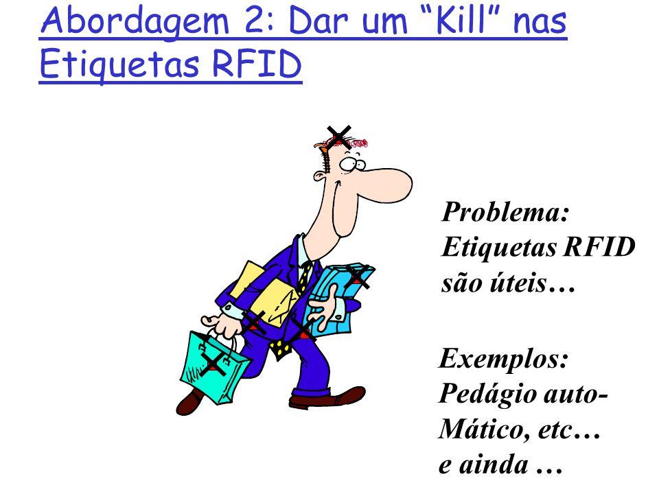 Problema: Etiquetas RFID são úteis… Abordagem 2: Dar um Kill nas Etiquetas RFID Exemplos: Pedágio auto- Mático, etc… e ainda …
