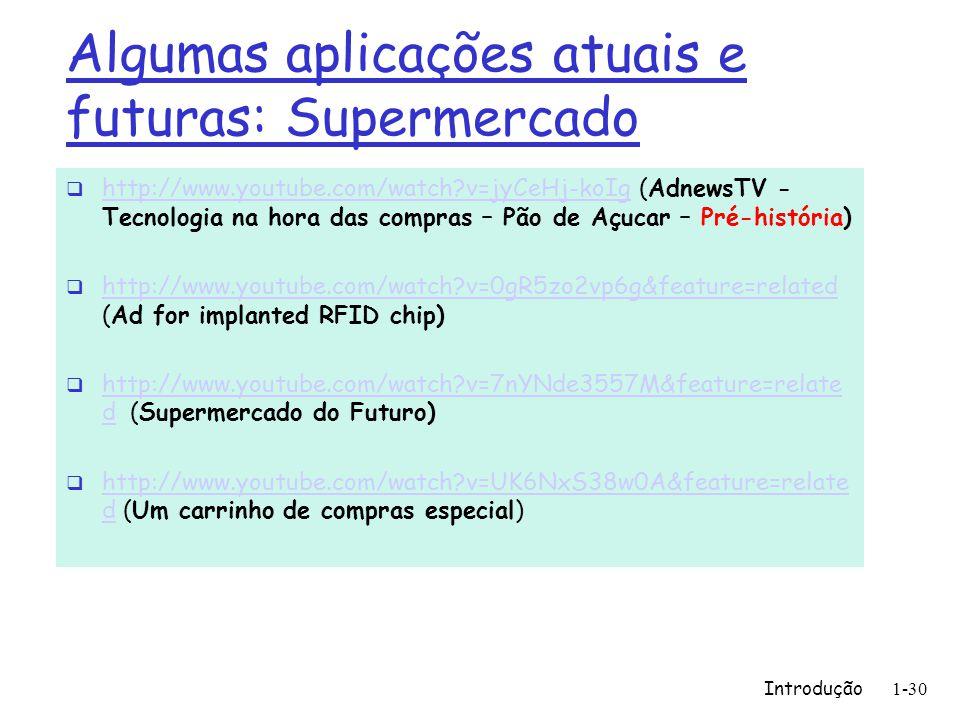 Algumas aplicações atuais e futuras: Supermercado Introdução1-30 http://www.youtube.com/watch?v=jyCeHj-koIg (AdnewsTV - Tecnologia na hora das compras