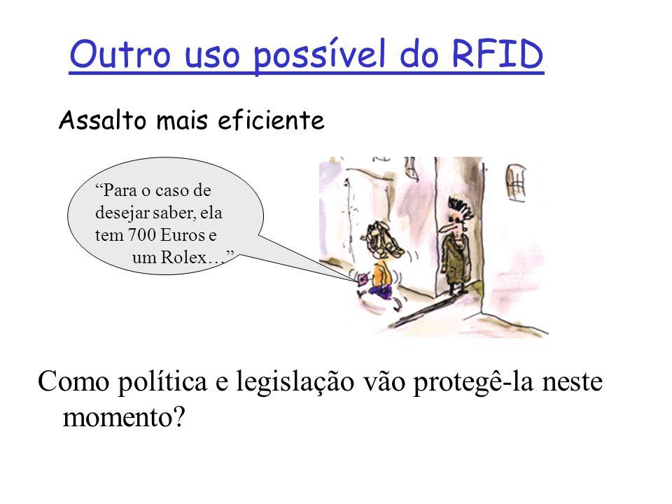 Outro uso possível do RFID Assalto mais eficiente Para o caso de desejar saber, ela tem 700 Euros e um Rolex… Como política e legislação vão protegê-l