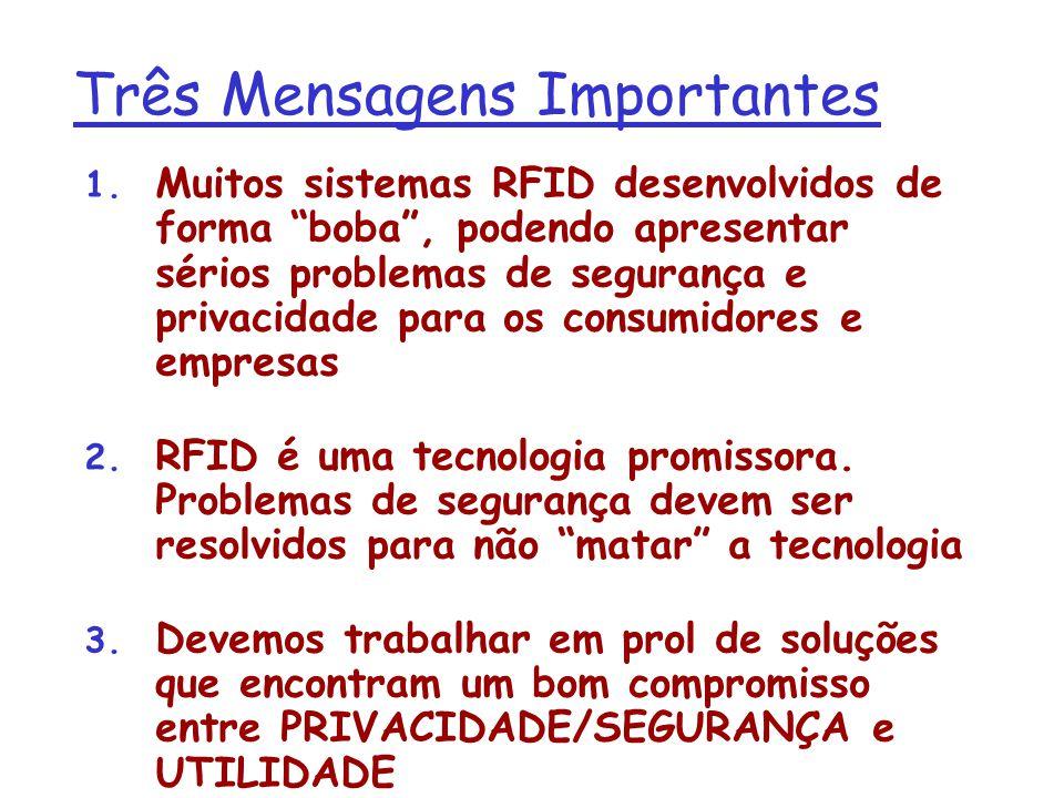 Três Mensagens Importantes 1. Muitos sistemas RFID desenvolvidos de forma boba, podendo apresentar sérios problemas de segurança e privacidade para os