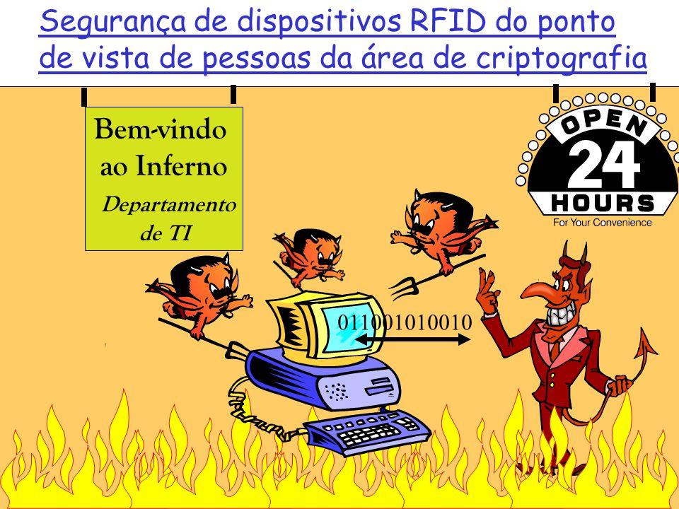 Bem-vindo ao Inferno Departamento de TI Segurança de dispositivos RFID do ponto de vista de pessoas da área de criptografia 011001010010