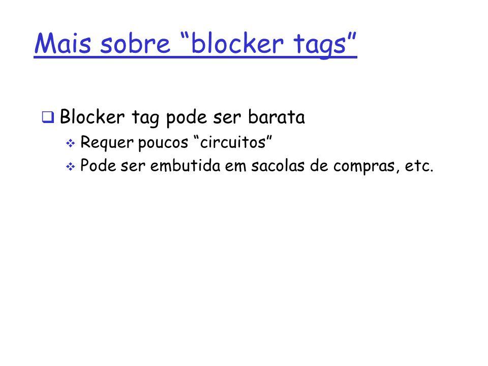 Mais sobre blocker tags Blocker tag pode ser barata Requer poucos circuitos Pode ser embutida em sacolas de compras, etc.