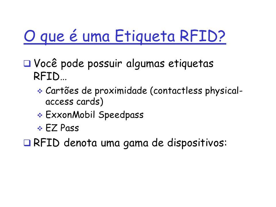 O que é uma Etiqueta RFID? Você pode possuir algumas etiquetas RFID… Cartões de proximidade (contactless physical- access cards) ExxonMobil Speedpass