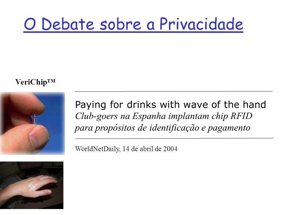 VeriChip O Debate sobre a Privacidade Paying for drinks with wave of the hand Club-goers na Espanha implantam chip RFID para propósitos de identificaç