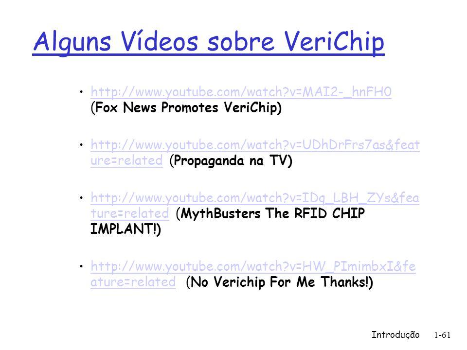 Alguns Vídeos sobre VeriChip http://www.youtube.com/watch?v=MAI2-_hnFH0 (Fox News Promotes VeriChip)http://www.youtube.com/watch?v=MAI2-_hnFH0 http://