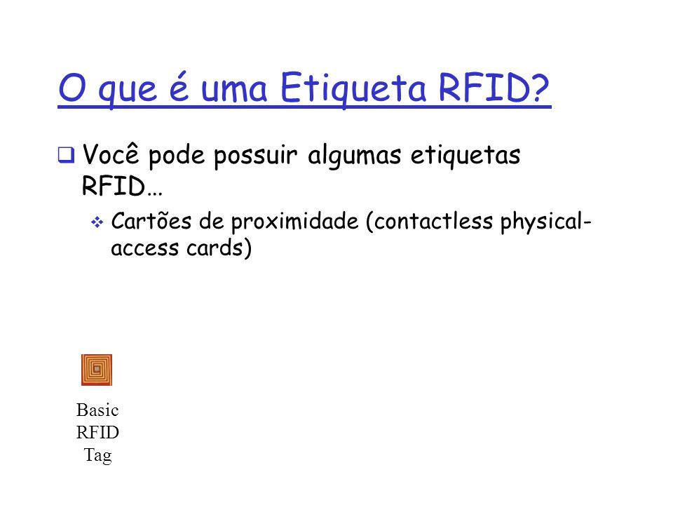 Você pode possuir algumas etiquetas RFID… Cartões de proximidade (contactless physical- access cards) ExxonMobil Speedpass EZ Pass RFID in fact denote