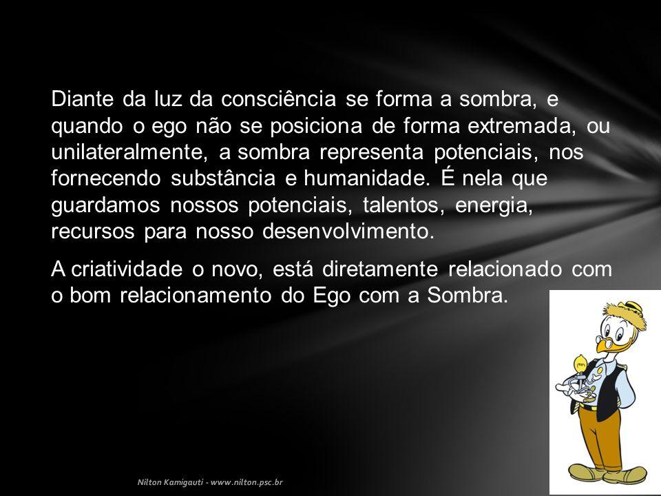 Diante da luz da consciência se forma a sombra, e quando o ego não se posiciona de forma extremada, ou unilateralmente, a sombra representa potenciais