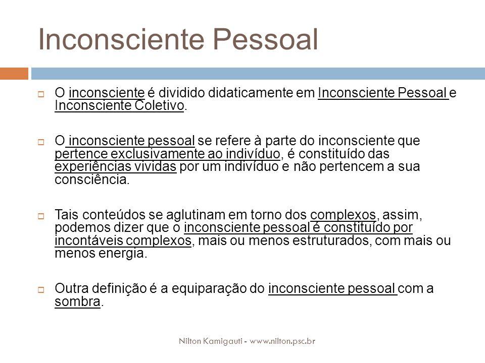 Inconsciente Pessoal O inconsciente é dividido didaticamente em Inconsciente Pessoal e Inconsciente Coletivo. O inconsciente pessoal se refere à parte