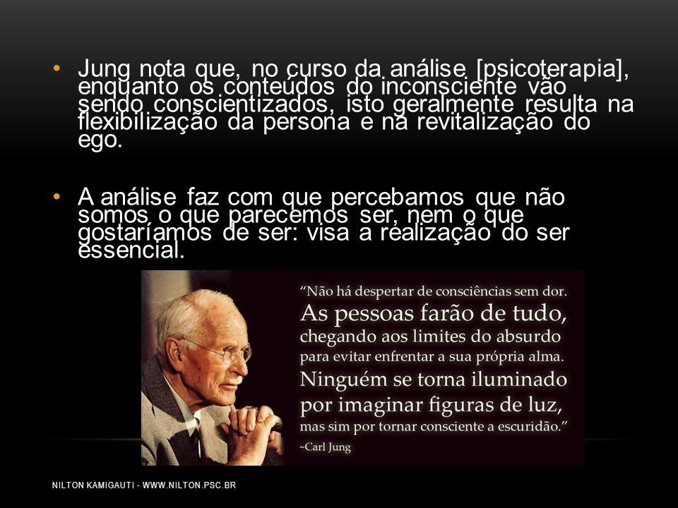 NILTON KAMIGAUTI - WWW.NILTON.PSC.BR Jung nota que, no curso da análise [psicoterapia], enquanto os conteúdos do inconsciente vão sendo conscientizado