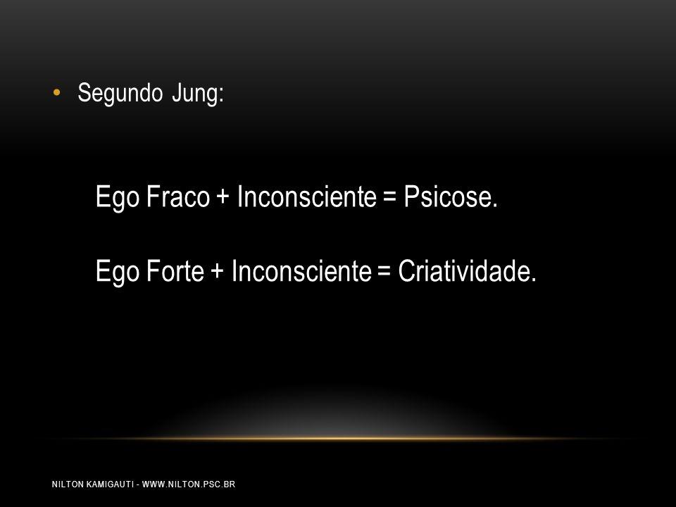 NILTON KAMIGAUTI - WWW.NILTON.PSC.BR Segundo Jung: Ego Forte + Inconsciente = Criatividade. Ego Fraco + Inconsciente = Psicose.
