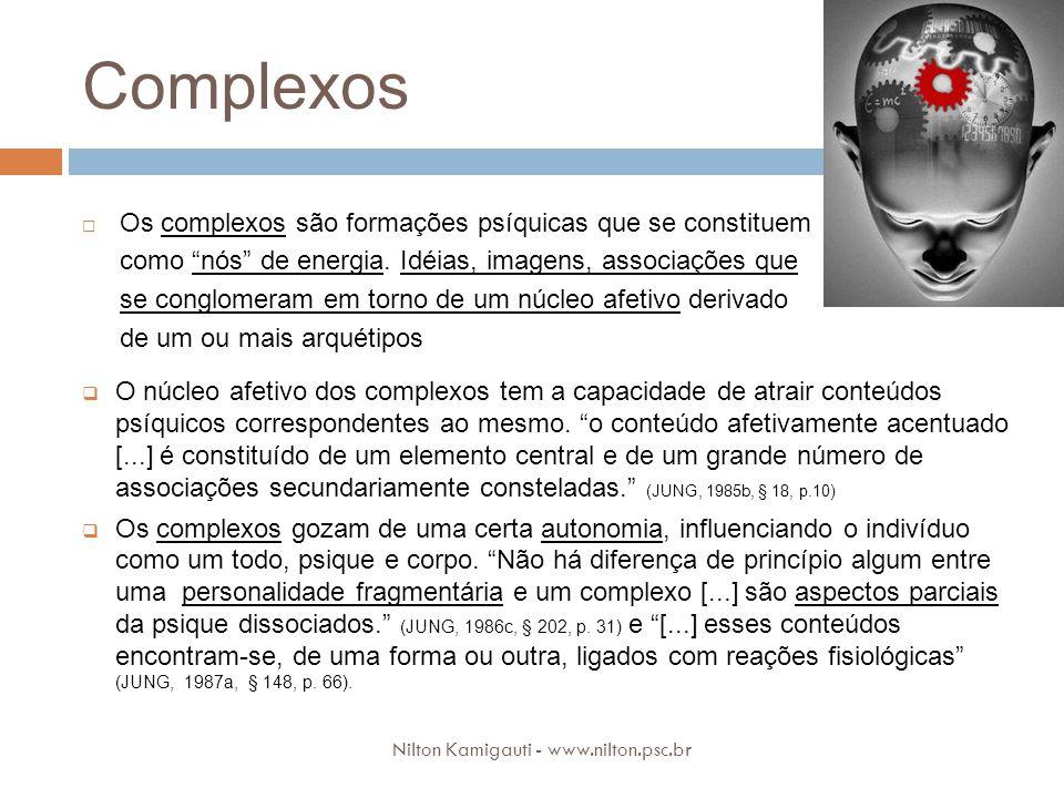 Complexos Os complexos são formações psíquicas que se constituem como nós de energia. Idéias, imagens, associações que se conglomeram em torno de um n