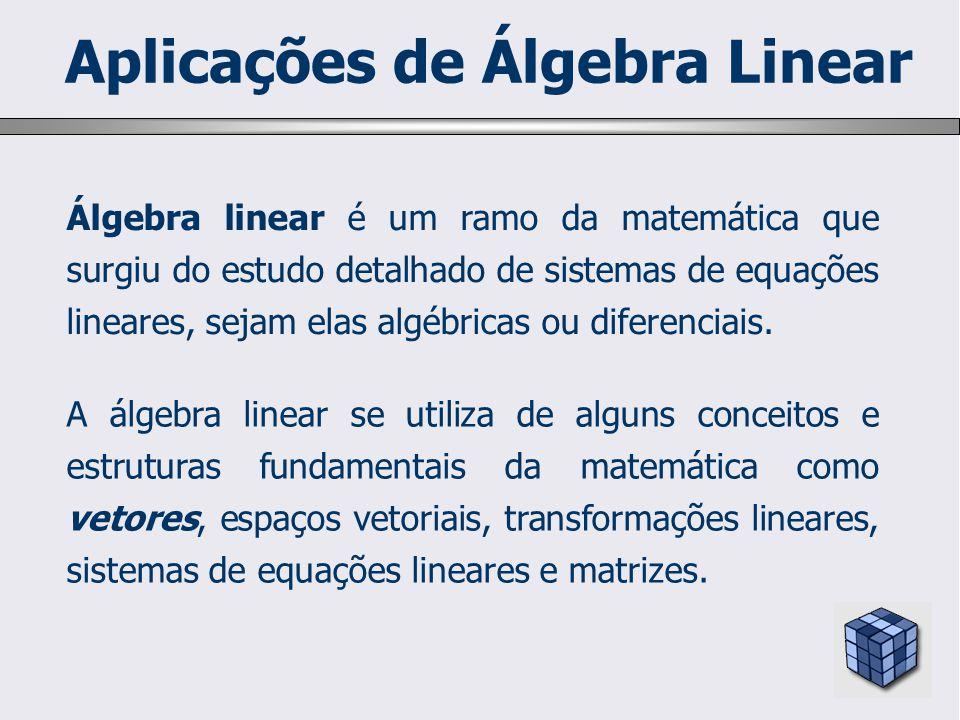 Álgebra linear é um ramo da matemática que surgiu do estudo detalhado de sistemas de equações lineares, sejam elas algébricas ou diferenciais. A álgeb