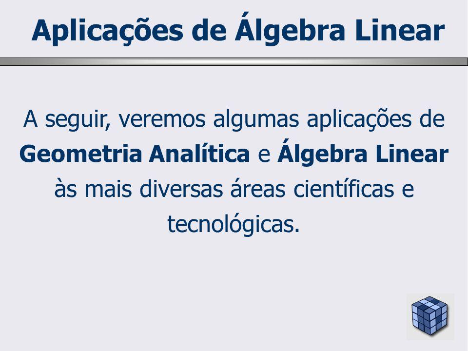 A seguir, veremos algumas aplicações de Geometria Analítica e Álgebra Linear às mais diversas áreas científicas e tecnológicas. Aplicações de Álgebra