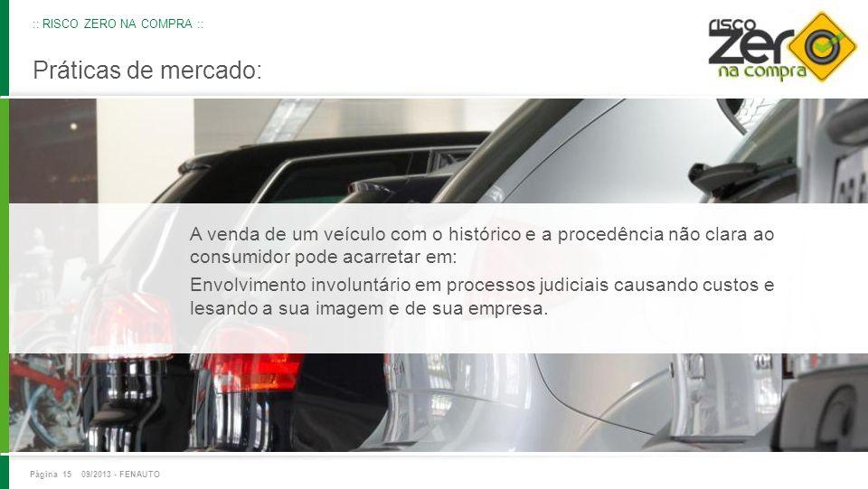 Práticas de mercado: A venda de um veículo com o histórico e a procedência não clara ao consumidor pode acarretar em: Envolvimento involuntário em pro