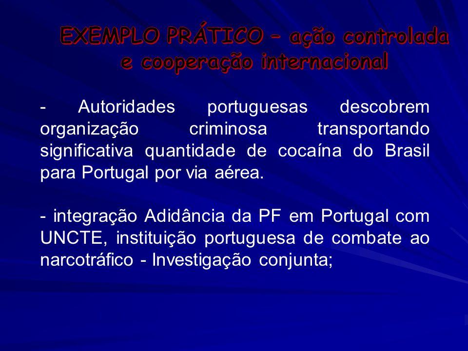 - Autoridades portuguesas descobrem organização criminosa transportando significativa quantidade de cocaína do Brasil para Portugal por via aérea. - i