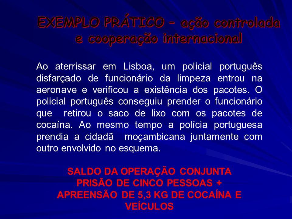 Ao aterrissar em Lisboa, um policial português disfarçado de funcionário da limpeza entrou na aeronave e verificou a existência dos pacotes. O policia