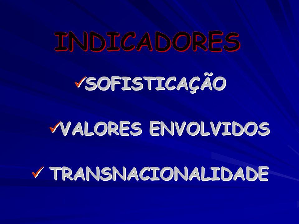 SOFISTICAÇÃO VALORES ENVOLVIDOS TRANSNACIONALIDADE SOFISTICAÇÃO VALORES ENVOLVIDOS TRANSNACIONALIDADE