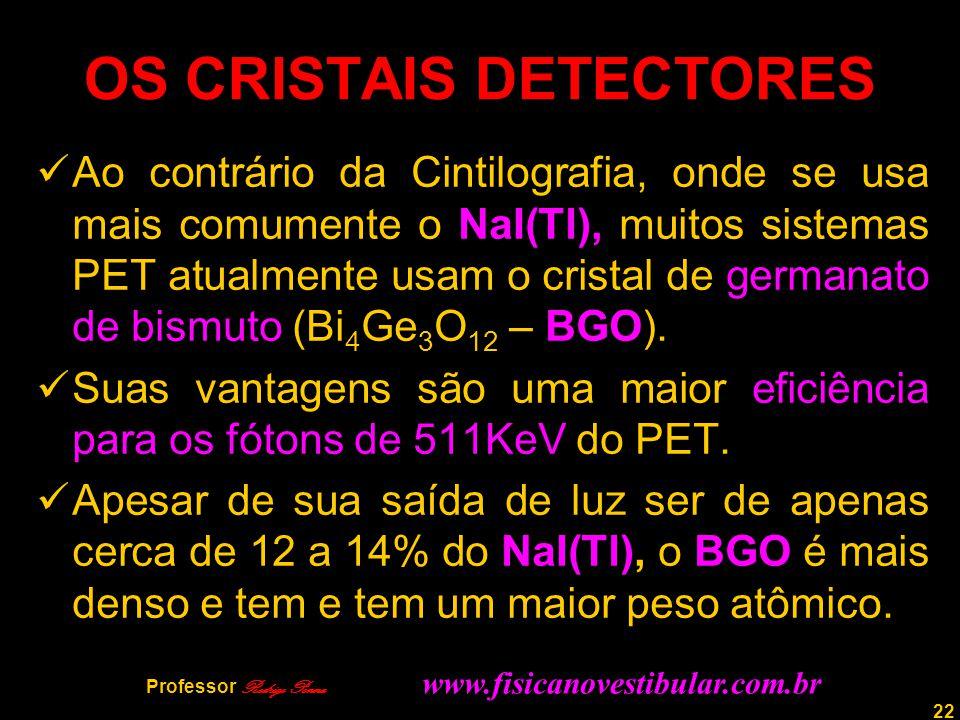 22 OS CRISTAIS DETECTORES Ao contrário da Cintilografia, onde se usa mais comumente o NaI(Tl), muitos sistemas PET atualmente usam o cristal de german