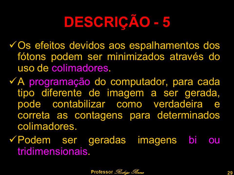 29 Professor Rodrigo Penna Os efeitos devidos aos espalhamentos dos fótons podem ser minimizados através do uso de colimadores. A programação do compu