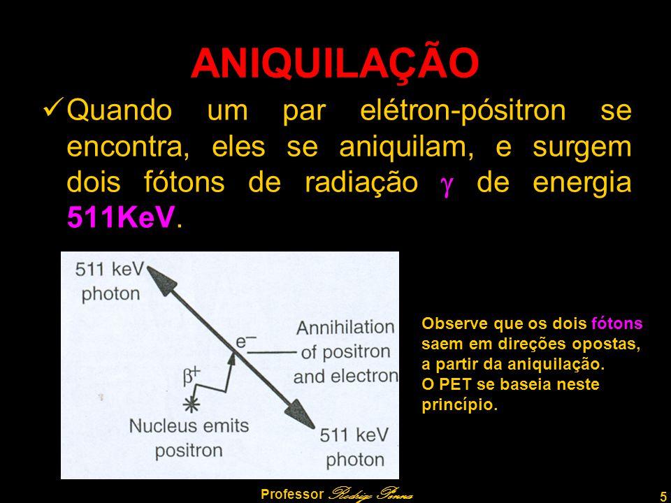5 Professor Rodrigo Penna ANIQUILAÇÃO Quando um par elétron-pósitron se encontra, eles se aniquilam, e surgem dois fótons de radiação de energia 511Ke