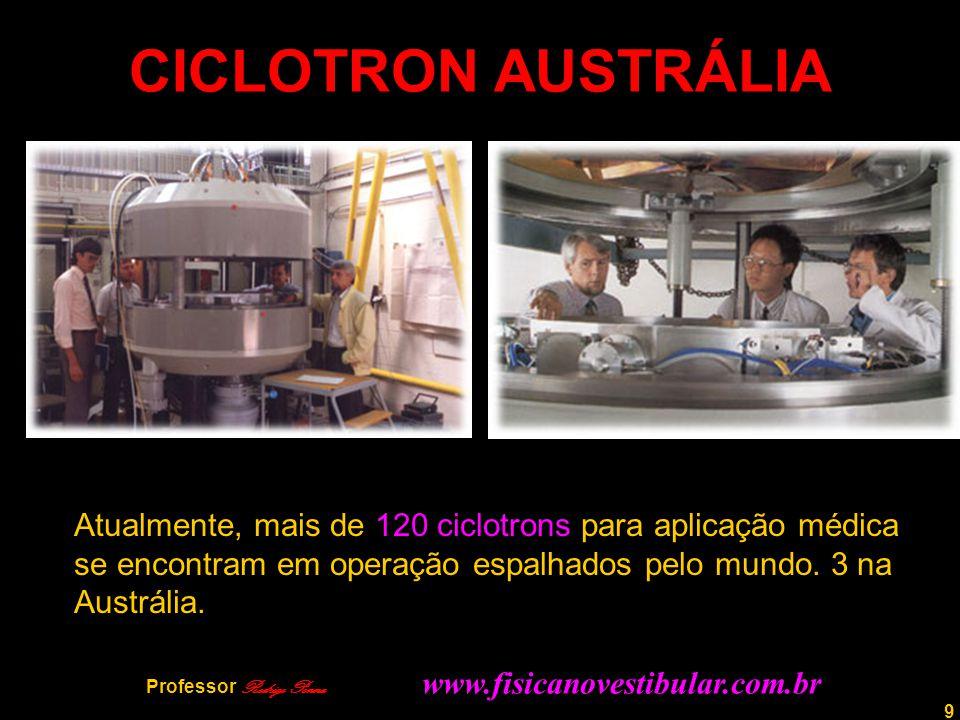 9 CICLOTRON AUSTRÁLIA Atualmente, mais de 120 ciclotrons para aplicação médica se encontram em operação espalhados pelo mundo. 3 na Austrália. Profess