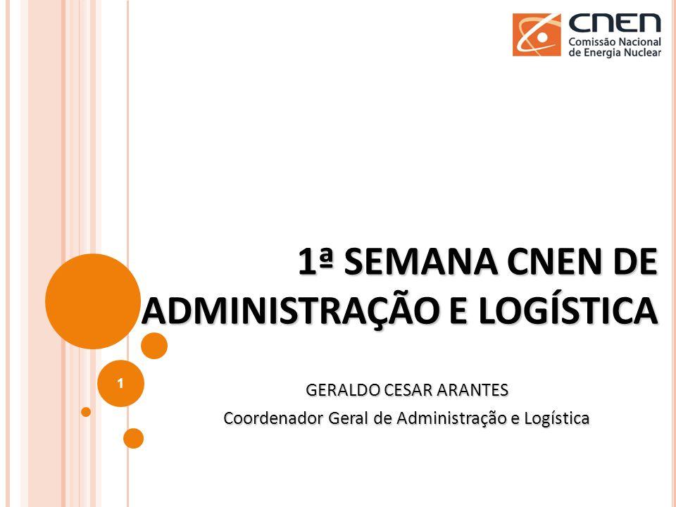 1ª SEMANA CNEN DE ADMINISTRAÇÃO E LOGÍSTICA GERALDO CESAR ARANTES Coordenador Geral de Administração e Logística 1